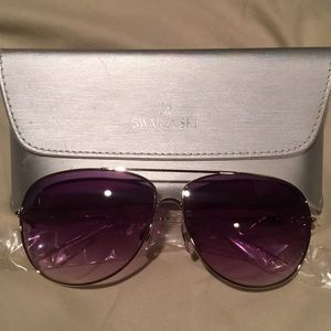 Swarovski Aviator Sunglasses With Silver Case